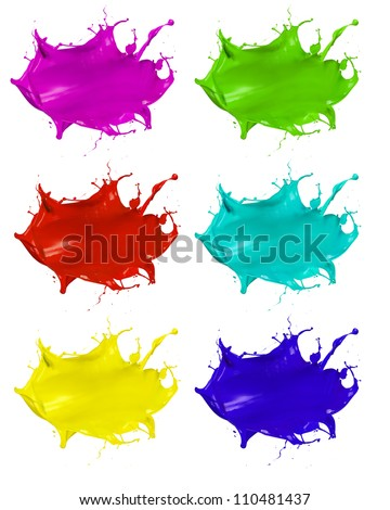 Paint splashes shots of colored blots on the white background