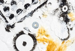 Paint stains from having painted die-cut elements. Circles texture. Pictorial background.