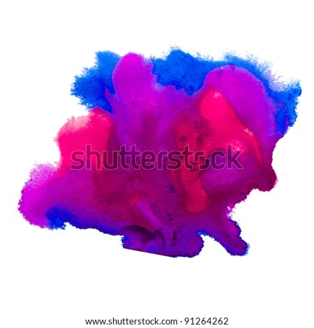 paint watercolor stain blue violet isolated on white background