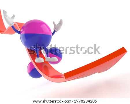 Paintball character sliding on red arrow isolated on white background. 3d illustration Stock photo ©