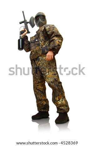 Paintball fighter. Isolated on white.