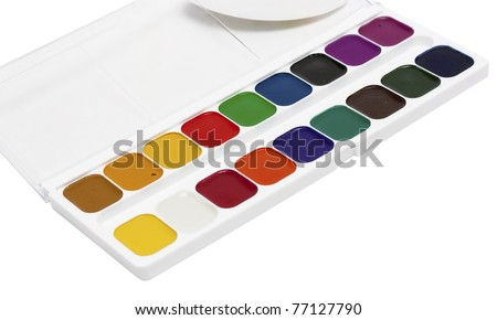 Paintbox with water colors, on the white