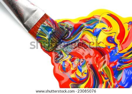 Paintbrush and mixed acrylic paint