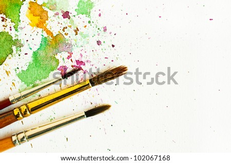 paintbrush and water-color abstract art