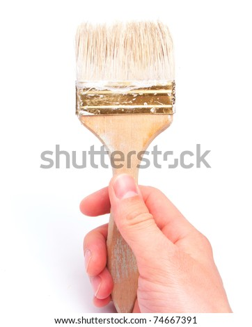 Paintbrush with arm isolated on white