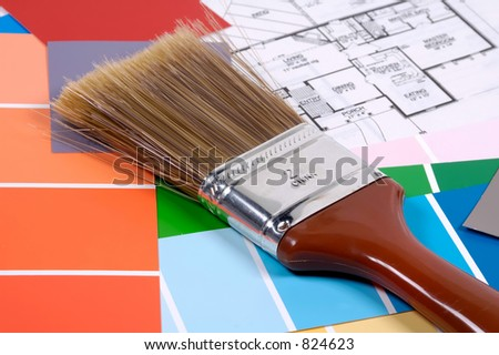 Paintbrush with Color Chips and Plans