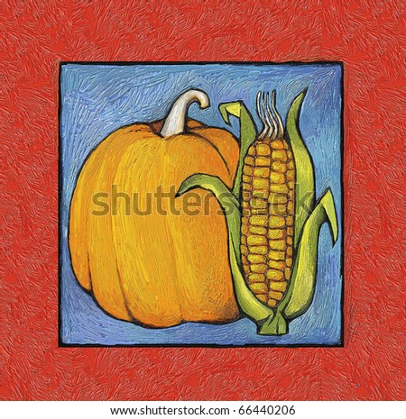 Painted a color plot of the harvest (simulated painting oil paints). pumpkins and corn