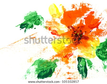 Painted abstract flower on a white background