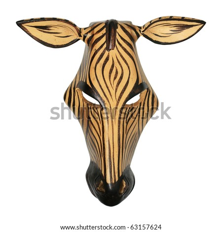 painted African wooden zebra mask isolated on white