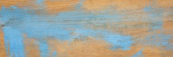 painted blue and scratched wood texture background, long banner format