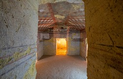 Painted Chambers in Etruscan Tombs of Tarquinia in Italy