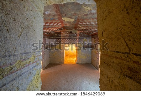 Painted Chambers in Etruscan Tombs of Tarquinia in Italy Stock photo ©