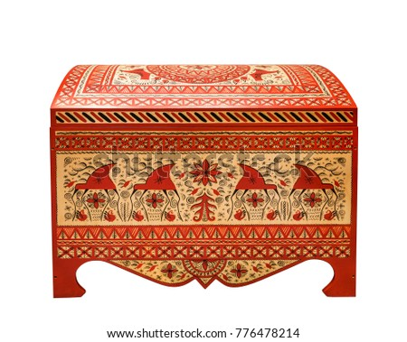Painted chest - Russian folk arts and crafts, Arkhangelsk region, Russia