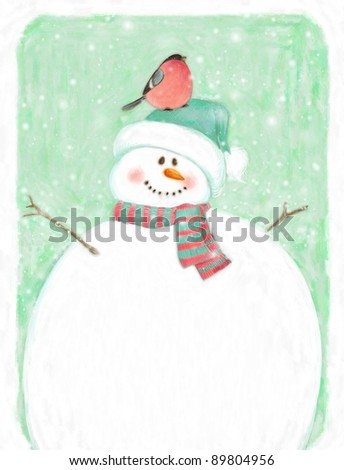 Painted Christmas background with snowman and bullfinch