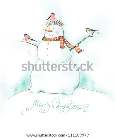 Painted Christmas background with snowman, bullfinch and titmouse