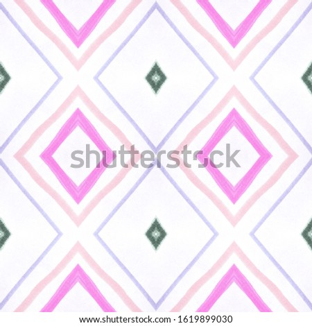 Painted Color Mexican Pattern. Seamless Geometric Stripes. Pink Ethnic Ornament. Mexican Pattern. Vintage Ikat Print. Rhombus Texture. Rhombus Shapes. African Border. Mexican Pattern.