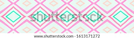 Painted Color Mexican Pattern. Seamless Traditional Zigzags. Pink Ethnic Ornament. Mexican Pattern. Modern Ikat Border. Rhombus Shapes. Rhombus Texture. Tribal Background. Mexican Pattern.