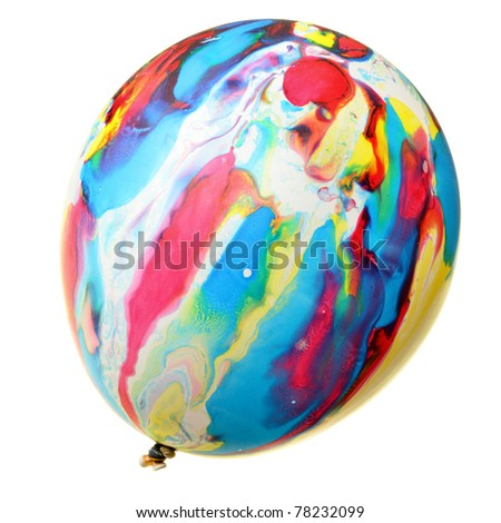 Painted colorful balloon isolated over the white background - stock photo
