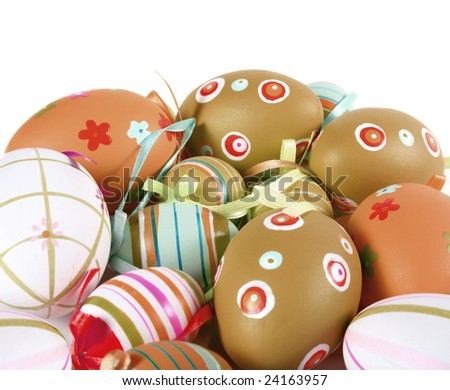 Painted Colorful Easter Eggs on white background