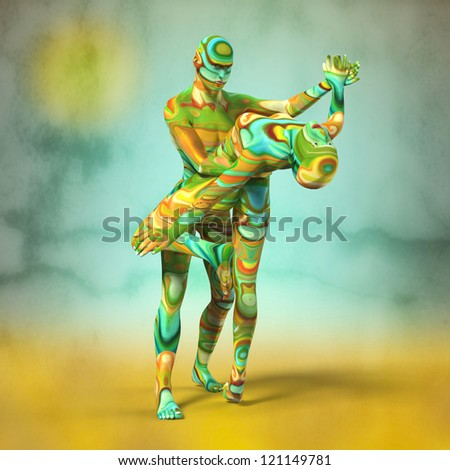 Painted Dancing Couple