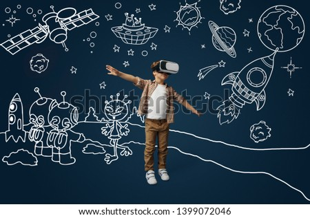 Painted dream about flying as an aircraft or rocket in cosmos. Little boy or child with virtual reality headset glasses. Concept of cutting edge technology, video games, innovation, childhood, dreams. #1399072046