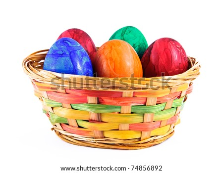 Painted eggs in a basket.