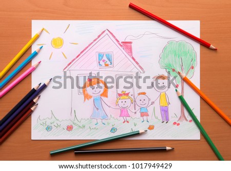 Painted family near his house. Picture of a happy family.