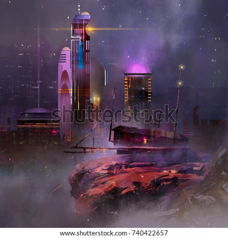Stock Photo Painted fantastic landscape. Night city of the future.