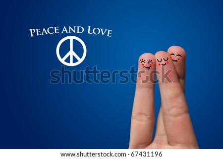 Painted finger smiley, peace and love theme