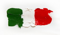 Painted flag of Italy. Italian tricolor. Abstract vivid green white red background, oil on canvas, creative design element of national symbolism, perfect texture, soft focus