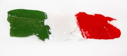 Painted flag of Italy. Italian tricolor. Abstract vivid green white red background, oil on canvas, creative design element of national symbolism, perfect texture, soft focus, isolated