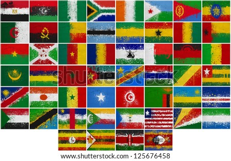 Painted Flags of Africa at the cracked wall