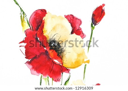 Painted floral background with beautyful red poppy on white . Ink and watercolor painting. Art is created and painted by the photographer.