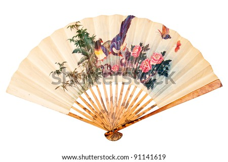 Painted hand fan with birds and flowers isolated on white