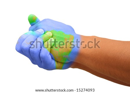 Painted Hands Representing Global Issues and Responsibility