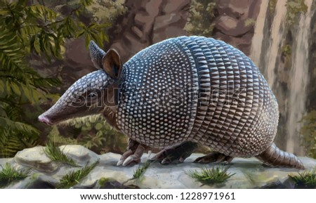 Painted image of an animal armadillo crawling on a stone against a waterfall in the tropics