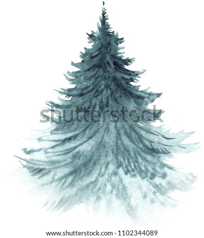 Painted in a hand-made fir-tree, watercolor element for compositions and design, printing, illustrations. New Year, New Year element, Siberia, pine, fir-tree, needles, evergreen, fir.