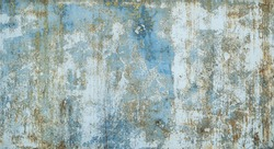 Painted in blue metal rusted background. Metal rust texture. Erosion metal. Scratched and dirty texture on outdoor rusted metal wall.