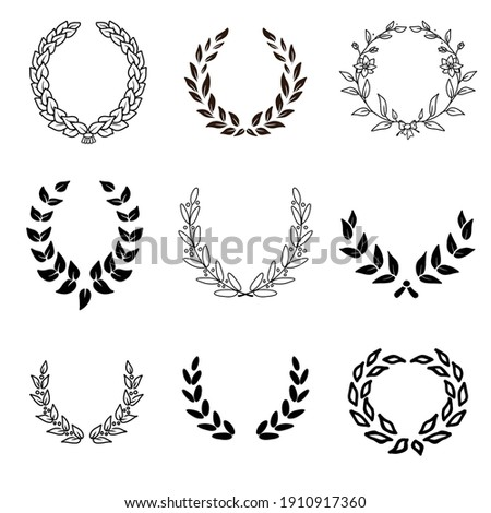 painted laurel wreath black and white style. Set of 9. Foto stock ©