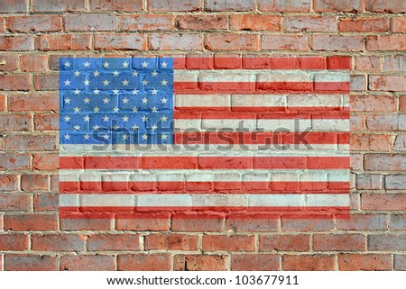 Painted on bricks american flag illustration, with an old retro look. bordered by red brick wall, giving a framed appearance. / Painted American Flag on Brick Wall / Great patriotic background.