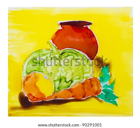 Painted on glass abstract vegetables art still life image background - stock photo