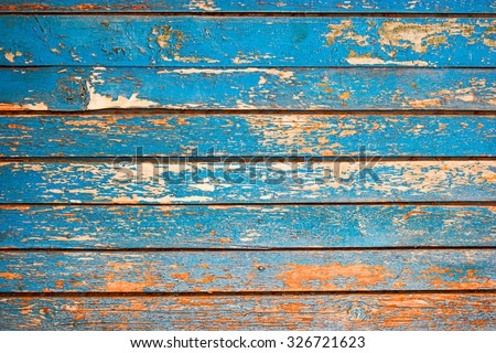 Painted Plain Navy Blue and Brown Rustic Wood Board Background. Blank Room or Space area  for copy, text,  your words, above . Tinted photo.