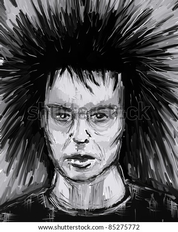 painted portrait of man with wild hair - illustration