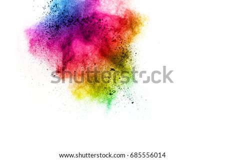 Painted powder explosion on white background. Multicolored dust explode for celebration or holiday design element. #685556014