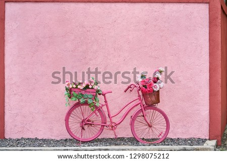 Painted saturated pink bicycle with baskets with flowers and green leaves stands on the pebble on the background of the textured colorful wall outdoors. Horizontal. #1298075212