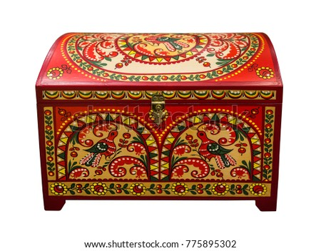 Painted small chest - Russian folk arts and crafts, Arkhangelsk oblast, Russia