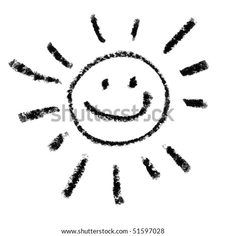 Painted Smiling Sun Symbol Outline.