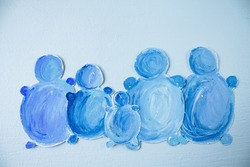painted snowmen. snowmen are blue in color. blue background. winter greeting card