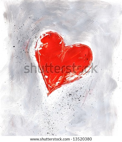 Painted textured red valentine heart on grey with black droplets  on white background. Art is created and painted by photographer. - stock photo