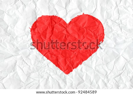 Painted textured valentine heart on white crumpled paper